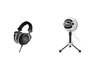 Beyerdynamic DT 770 Pro 250 Ohm (459046) Studio Reference Headphones (Closed) and Blue Snowball USB Microphone (Brushed Aluminium)