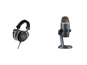 Beyerdynamic DT 770 Pro 250 Ohm (459046) Studio Reference Headphones (Closed) and Blue Microphones Yeti Nano Premium USB Mic for Recording and Streaming in Shadow Grey