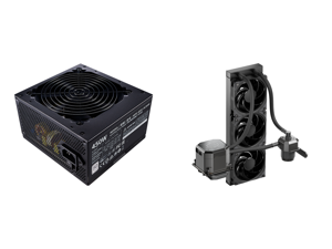 Cooler Master MWE 450 - V2 MPE-4501-ACAAW-US 450W ATX 12V 80 PLUS Standard Certified Power Supply and CoolerMaster MasterLiquid ML360 SUB-ZERO Thermoelectric Cooling (TEC) AIO CPU Liquid Cooler Powered by Intel Cryo Cooling Technology 2nd G