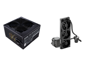 Cooler Master MWE 550 550W 80+ White PSU w/ Hydro-Dynamic-Bearing Silent 120mm Fan Single +12V Rail Flat Black Cables and CoolerMaster MasterLiquid ML360 SUB-ZERO Thermoelectric Cooling (TEC) AIO CPU Liquid Cooler Powered by Intel Cryo Cool