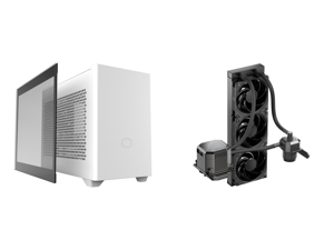 Cooler Master MasterBox NR200P White SFF Small Form Factor Mini-ITX Case with Tempered glass or Vented Panel Option PCI Riser Cable Triple-slot GPU Tool-Free and 360 Degree Accessibility and CoolerMaster MasterLiquid ML360 SUB-ZERO Thermoel