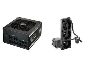 Cooler Master MWE Gold 750 V2 Fully Modular 750W 80+ Gold Efficiency Quiet HDB Fan 2 EPS Connectors High Temperature Resilience 5 Year Warranty and CoolerMaster MasterLiquid ML360 SUB-ZERO Thermoelectric Cooling (TEC) AIO CPU Liquid Cooler