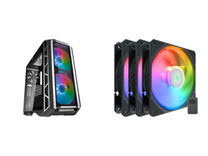 Cooler Master MasterCase H500P Mesh ARGB Airflow ATX Mid-Tower with Dual 200mm ARGB Fans Gun Metal Mesh Front Panel Tempered Glass Side Panel ARGB Lighting System and Cooler Master SickleFlow 120 V2 Addressable RGB 3 in 1 Square Frame Fan I