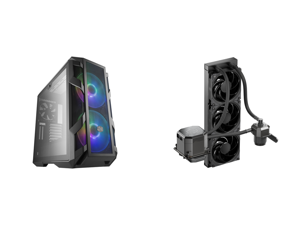 Cooler Master MasterCase H500M ATX Mid-Tower w/ 4x Side Tempered Glass Panels Type-C I/O Panel 2x Vertical GPU Card PCI Slots 2x 200mm ARGB Fans w/ARGB Controller and CoolerMaster MasterLiquid ML360 SUB-ZERO Thermoelectric Cooling (TEC) AIO