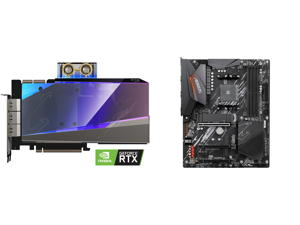 GIGABYTE AORUS GeForce RTX 3090 XTREME WATERFORCE WB 24G Graphics Card WATERFORCE Water Block Cooling System 24GB 384-bit GDDR6X GV-N3090AORUSX WB-24GD Video Card and GIGABYTE B550 AORUS ELITE AM4 AMD B550 ATX Motherboard with Dual M.2 SATA