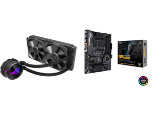 ASUS ROG Strix LC 240 RGB All-in-one Liquid CPU Cooler 240mm Radiator Intel 115x/2066 and AMD AM4/TR4 Support Dual 120mm 4-pin PWM Addressable RGB Fans and ASUS AM4 TUF Gaming X570-Plus (Wi-Fi) ATX Motherboard with PCIe 4.0 Dual M.2 12+2 wi
