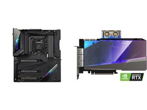 GIGABYTE Z590 AORUS XTREME LGA 1200 Intel Z590 SATA 6Gb/s Extended ATX Intel Motherboard and GIGABYTE AORUS GeForce RTX 3090 XTREME WATERFORCE WB 24G Graphics Card WATERFORCE Water Block Cooling System 24GB 384-bit GDDR6X GV-N3090AORUSX WB-