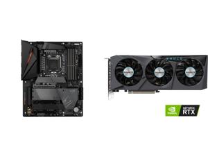 GIGABYTE Z590 AORUS PRO AX LGA 1200 Intel Z590 ATX Motherboard with 4 x M.2 PCIe 4.0 USB 3.2 Gen2X2 Type-C Intel WIFI 6 2.5GbE LAN and GIGABYTE Eagle GeForce RTX 3070 8GB GDDR6 PCI Express 4.0 x16 ATX Video Card GV-N3070EAGLE OC-8GD (rev. 2