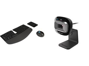 Microsoft Sculpt Ergonomic Wireless Desktop Keyboard and Mouse - L5V-00001 Black and Microsoft HD-3000 L2 LifeCam USB Camera