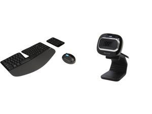 Microsoft Sculpt Ergonomic Wireless Desktop Keyboard and Mouse - L5V-00001 Black and L2 LifeCam HD-3000 Win USB Port