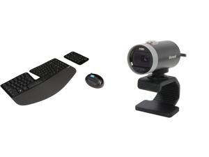 Microsoft Sculpt Ergonomic Wireless Desktop Keyboard and Mouse - L5V-00001 Black and Microsoft LifeCam Cinema
