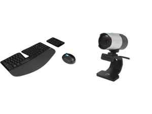 Microsoft Sculpt Ergonomic Wireless Desktop Keyboard and Mouse - L5V-00001 Black and Microsoft Q2F-00013 MAIN-31891 LifeCam Studio