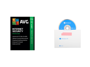 AVG Internet Security 2021 5 Devices 1 Year - Download and Windows 10 Home 64-Bit Installation / Recovery Disc Only - No License Key Included