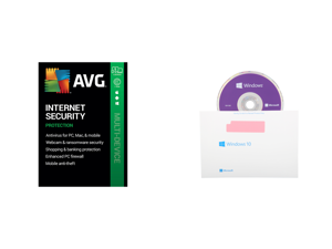 AVG Internet Security 2021 5 Devices 1 Year - Download and Windows 10 Pro 64-Bit Installation / Recovery Disc Only - No License Key Included