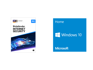 Bitdefender Internet Security 2021 - 1 Year / 1PC - Download and Windows 10 Home 32-bit/64-bit - OEM - (Product Key Code Email Delivery)