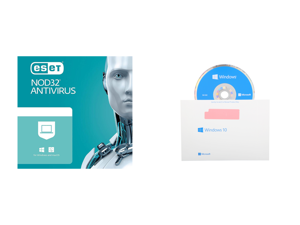ESET NOD32 Antivirus 1 Year 1 Device and Windows 10 Home 64-Bit Installation / Recovery Disc Only - No License Key Included