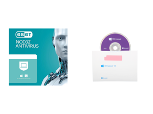 ESET NOD32 Antivirus 1 Year 1 Device and Windows 10 Pro 64-Bit Installation / Recovery Disc Only - No License Key Included