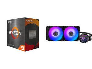 AMD Ryzen 9 5950X 3.4 GHz Socket AM4 100-100000059WOF Desktop Processor and MSI MAG CORELIQUID 280R AIO Liquid CPU Cooler 280mm Radiator Dual 140mm PWN Fans ARGB lighting controled by software