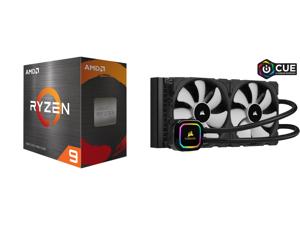 AMD Ryzen 9 5950X 3.4 GHz Socket AM4 100-100000059WOF Desktop Processor and CORSAIR iCUE H115i RGB PRO XT 280mm Radiator Dual 140mm PWM Fans Software Control Liquid CPU Cooler CW-9060044-WW