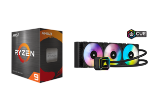 AMD Ryzen 9 5950X 3.4 GHz Socket AM4 100-100000059WOF Desktop Processor and CORSAIR iCUE H150i ELITE CAPELLIX Liquid CPU Cooler CW-9060048-WW