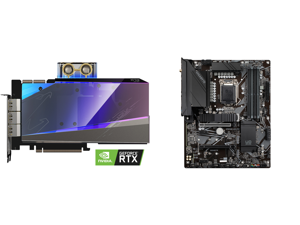 GIGABYTE AORUS GeForce RTX 3090 XTREME WATERFORCE WB 24G Graphics Card WATERFORCE Water Block Cooling System 24GB 384-bit GDDR6X GV-N3090AORUSX WB-24GD Video Card and GIGABYTE Z590 UD AC LGA 1200 Intel Z590 ATX Motherboard with Triple M.2 P