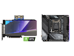 GIGABYTE AORUS GeForce RTX 3090 XTREME WATERFORCE WB 24G Graphics Card WATERFORCE Water Block Cooling System 24GB 384-bit GDDR6X GV-N3090AORUSX WB-24GD Video Card and GIGABYTE Z590I AORUS ULTRA LGA 1200 Intel Z590 Mini-ITX Motherboard with