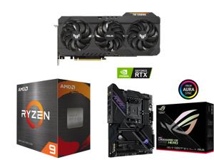 ASUS TUF Gaming GeForce RTX 3080 Ti 12GB GDDR6X PCI Express 4.0 x16 Video Card TUF-RTX3080TI-O12G-GAMING and AMD Ryzen 9 5950X 16-Core 3.4 GHz Socket AM4 105W 100-100000059WOF Desktop Processor and ASUS ROG Crosshair VIII Dark Hero AM4 AMD