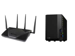 Synology RT2600ac Wi-Fi AC 2600 Gigabit Router and Synology 2 bay NAS DiskStation DS220+ (Diskless)