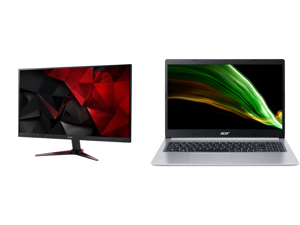 """Acer Nitro Gaming Series VG220Q bmiix 22"""" (21.5"""" Diagonal) Full HD 1920 x 1080 75Hz 1ms HDMI VGA AMD FreeSync Technology Flicker-Less Built-in Speakers LED Backlit IPS Gaming Monitor and Acer Laptop Aspire 5 Thin and Light Laptop A515-45-R2"""