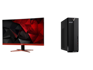 """Acer XG270HU omidpx 27"""" 2K 2560 x 1440 1ms 144Hz AMD FreeSync Technology Edge-to-Edge Frameless Design DVI-D HDMI DisplayPort Built-in Speakers LED Backlit LCD Gaming Monitor and Acer Aspire XC - Intel Core i3-10100 - 8 GB DDR4 - 1 TB HDD -"""