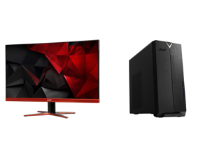 """Acer XG270HU omidpx 27"""" 2K 2560 x 1440 1ms 144Hz AMD FreeSync Technology Edge-to-Edge Frameless Design DVI-D HDMI DisplayPort Built-in Speakers LED Backlit LCD Gaming Monitor and Acer Aspire TC - AMD Ryzen 3 3200G - 8 GB DDR4 - 512 GB SSD -"""