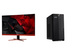 """Acer XG270HU omidpx 27"""" 2K 2560 x 1440 1ms 144Hz AMD FreeSync Technology Edge-to-Edge Frameless Design DVI-D HDMI DisplayPort Built-in Speakers LED Backlit LCD Gaming Monitor and Acer Aspire TC - Intel Core i5-10400 - 12 GB DDR4 - 512 GB SS"""