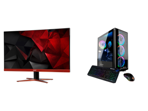 """Acer XG270HU omidpx 27"""" 2K 2560 x 1440 1ms 144Hz AMD FreeSync Technology Edge-to-Edge Frameless Design DVI-D HDMI DisplayPort Built-in Speakers LED Backlit LCD Gaming Monitor and iBUYPOWER TraceMR153iN - Intel Core i7-10700 - 16 GB DDR4 - 4"""