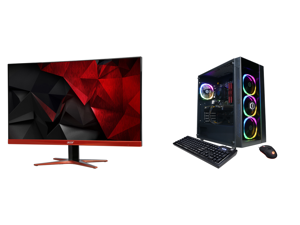 """Acer XG270HU omidpx 27"""" 2K 2560 x 1440 1ms 144Hz AMD FreeSync Technology Edge-to-Edge Frameless Design DVI-D HDMI DisplayPort Built-in Speakers LED Backlit LCD Gaming Monitor and CyberpowerPC Gaming Desktop Gamer Xtreme GX60090 Intel Core i"""