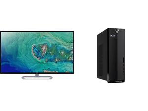 "Acer EB321HQU Cbidpx 32"" (Actual size 31.5"") WQHD 2560 x 1440 (2K) DVI HDMI DisplayPort LED Backlit IPS Monitor and Acer Aspire XC - Intel Core i3-10100 - 8 GB DDR4 - 1 TB HDD - Intel UHD Graphics 630 - Windows 10 Home - Desktop Computer (X"