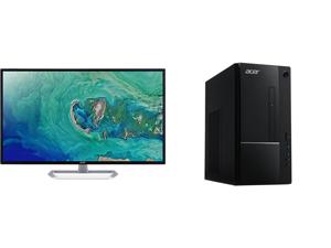 "Acer EB321HQU Cbidpx 32"" (Actual size 31.5"") WQHD 2560 x 1440 (2K) DVI HDMI DisplayPort LED Backlit IPS Monitor and Acer Aspire TC - Intel Core i5-10400 - 8 GB DDR4 - 512 GB SSD - Intel UHD Graphics 630 - Windows 10 Home - Desktop PC (TC-87"