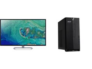 "Acer EB321HQU Cbidpx 32"" (Actual size 31.5"") WQHD 2560 x 1440 (2K) DVI HDMI DisplayPort LED Backlit IPS Monitor and Acer Aspire TC - Ryzen 5 4600G - 12 GB DDR4 - 512 GB SSD - AMD Radeon Graphics - Windows 10 Home - Desktop PC (TC-391-UR12)"