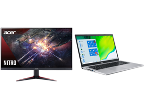 """Acer Nitro VG270 Pbiip 27"""" Full HD 1920 x 1080 1ms (VRB) 144Hz 2xHDMI DisplayPort AMD FreeSync Backlit LED IPS Gaming Monitor and Acer Laptop Aspire 5 Thin and Light Laptop A515-56-76J1 Intel Core i7 11th Gen 1165G7 (2.80 GHz) 12 GB Memory"""
