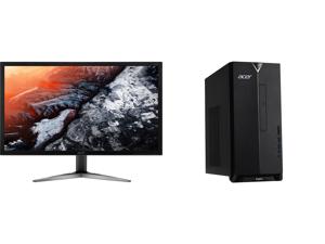 "Acer KG281K bmiipx 28"" 4K UHD (3840 x 2160) TN Monitor with AMD FREESYNC Technology (1 x Display Port 2 x HDMI 2.0 Ports) and Acer Aspire TC - Ryzen 3 4300G - 8 GB DDR4 - 512 GB SSD - AMD Radeon Graphics - Windows 10 Home - Desktop PC (TC-3"