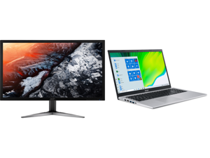 """Acer KG281K bmiipx 28"""" 4K UHD (3840 x 2160) TN Monitor with AMD FREESYNC Technology (1 x Display Port 2 x HDMI 2.0 Ports) and Acer Laptop Aspire 5 Thin and Light Laptop A515-56-76J1 Intel Core i7 11th Gen 1165G7 (2.80 GHz) 12 GB Memory 512"""