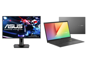 """ASUS VG278Q 27"""" Full HD 1920 x 1080 144Hz 1ms DisplayPort HDMI DVI Asus Eye Care with Ultra Low-Blue Light Flicker-Free AMD Free Sync G-Sync Compatible Built-in Speakers LED Backlit Gaming Monitor and ASUS VivoBook 15 K513 Thin Light Laptop"""