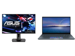 """ASUS VG278Q 27"""" Full HD 1920 x 1080 144Hz 1ms DisplayPort HDMI DVI Asus Eye Care with Ultra Low-Blue Light Flicker-Free AMD Free Sync G-Sync Compatible Built-in Speakers LED Backlit Gaming Monitor and ASUS ZenBook 15 Ultra-Slim Laptop 15.6"""""""