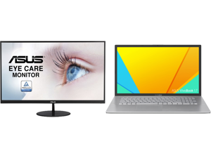 """ASUS VL279HE Eye Care Monitor - 27"""" IPS 75Hz Adaptive-Sync/FreeSync Frameless Slim Wall Mountable Flicker Free Blue Light Filter and ASUS Laptop VivoBook S K712EA-DS76 Intel Core i7 11th Gen 1165G7 (2.80 GHz) 16 GB Memory 1 TB PCIe SSD Inte"""