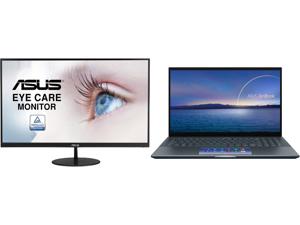 "ASUS VL279HE Eye Care Monitor - 27"" IPS 75Hz Adaptive-Sync/FreeSync Frameless Slim Wall Mountable Flicker Free Blue Light Filter and ASUS ZenBook 15 Ultra-Slim Laptop 15.6"" FHD NanoEdge Bezel Touch Display Intel Core i7-10750H GeForce GTX 1"