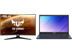 """ASUS TUF Gaming VG328H1B 32"""" (31.5"""" Viewable) Full HD 1920 x 1080 165Hz (OC) 1ms (MPRT) HDMI 2.0 Extreme Low Motion Blur Flicker-Free AMD FreeSync Built-in Speakers Backlit LED Curved Gaming Monitor and ASUS Laptop L410 Ultra Thin Laptop 14"""