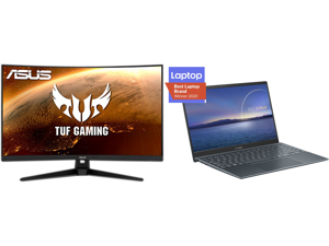 """ASUS TUF Gaming VG328H1B 32"""" (31.5"""" Viewable) Full HD 1920 x 1080 165Hz (OC) 1ms (MPRT) HDMI 2.0 Extreme Low Motion Blur Flicker-Free AMD FreeSync Built-in Speakers Backlit LED Curved Gaming Monitor and ASUS ZenBook 14 Ultra-Slim Laptop 14"""""""
