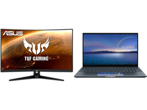 """ASUS TUF Gaming VG328H1B 32"""" (31.5"""" Viewable) Full HD 1920 x 1080 165Hz (OC) 1ms (MPRT) HDMI 2.0 Extreme Low Motion Blur Flicker-Free AMD FreeSync Built-in Speakers Backlit LED Curved Gaming Monitor and ASUS ZenBook 15 Ultra-Slim Laptop 15."""