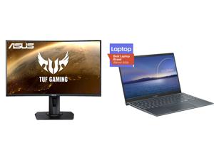 "ASUS TUF GAMING VG27WQ 27"" WQHD 2560 x 1440 (2K) 1ms (MPRT) 165Hz (Max) HDMI DisplayPort FreeSync DisplayHDR 400 Built-in Speakers Height Adjustable Curved Gaming Monitor and ASUS ZenBook 14 Ultra-Slim Laptop 14"" Full HD NanoEdge Display In"