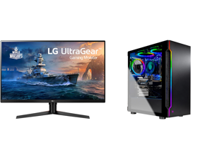 "LG 32GK650F-B 32"" (Actual size 31.5"") Quad HD 2560 x 1440 2K 144Hz 2xHDMI DisplayPort AMD Radeon FreeSync 3-Side Borderless Anti-Glare Backlit LED Gaming Monitor and Skytech Gaming PC Desktop AMD Ryzen 5 3600 6-Core GTX 1660 Super 6GB 16GB"