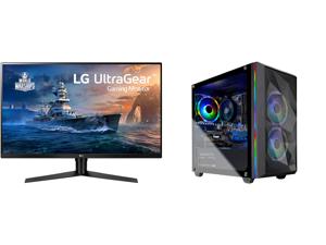 "LG 32GK650F-B 32"" (Actual size 31.5"") Quad HD 2560 x 1440 2K 144Hz 2xHDMI DisplayPort AMD Radeon FreeSync 3-Side Borderless Anti-Glare Backlit LED Gaming Monitor and Skytech Chronos Mini Gaming Computer PC Desktop - Ryzen 5 3600 6-Core 3.60"